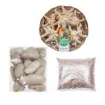 Морские ракушки и декоративная галька. Камни для декора и цветной песок