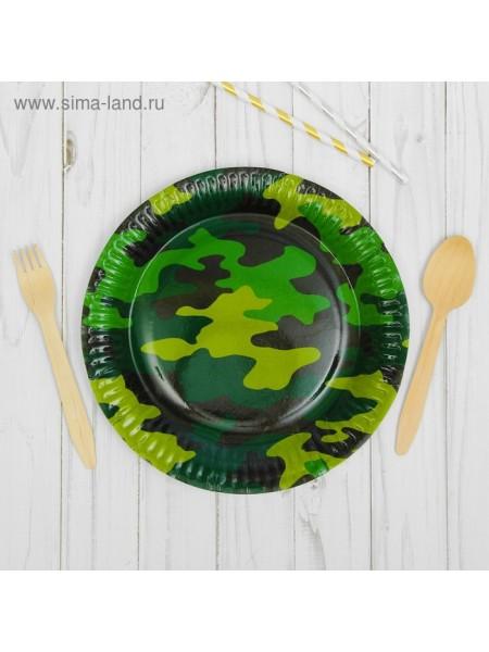 Тарелка бумага Камуфляж 6 шт 23 см