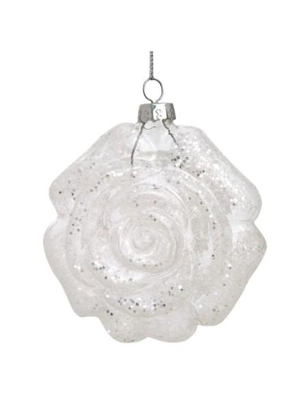 Белая роза 8 х 4 х 8 см стекло  новый год