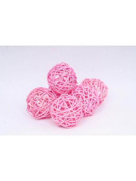 Шар плетеный ротанг D8 см набор 6 шт цвет Розовый