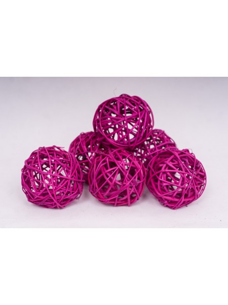Шар плетеный ротанг D8 см набор 6 шт цвет Ярко-розовый