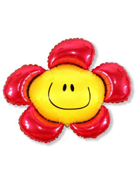 """Фольга шар Цветочек солнечная улыбка красный  41""""/102,5 см  1шт Испания"""