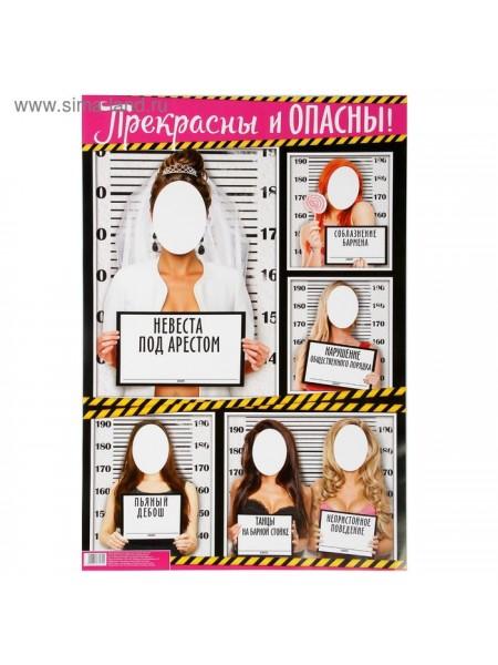 Плакат для девичника Прекрасны и опасны 60 х 40 см