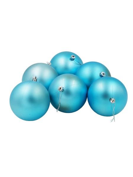 Шар 10 см набор 6 шт пластик матовый цвет голубой HS-19-10 Новый год