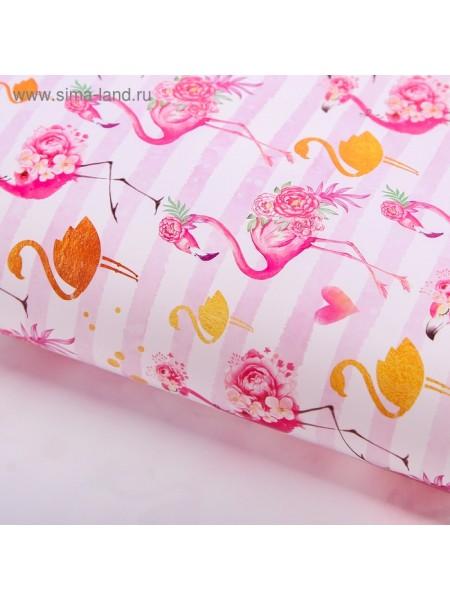 Бумага глянцевая Золотой фламинго 70 х100 см С Днем рождения!