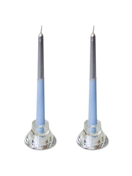 Свеча античная набор 2 шт цвет серебристо-голубой