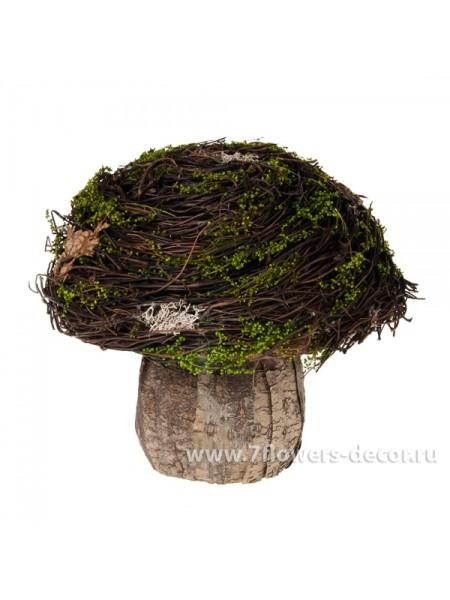 Гриб декоративный (дерево, мох) 18см