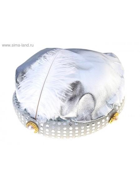 Шляпа тюрбан с пером серебро