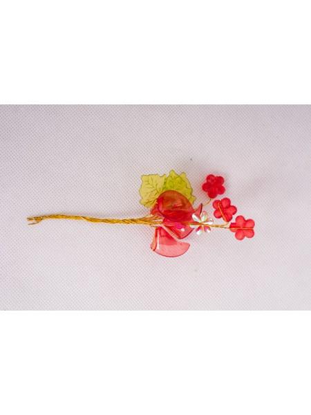 Декор для творчества  Цветочная ветвь 14,5 см 1 набор =1букетику  в букете 9 шт МИКС