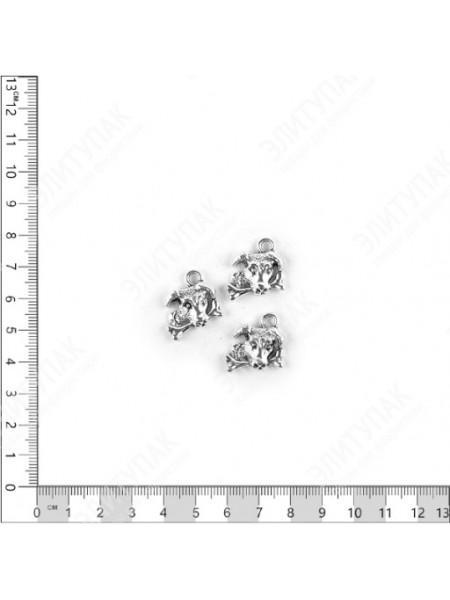 Декор Собачка с косточкой плоский металл серебряный набор 3 шт