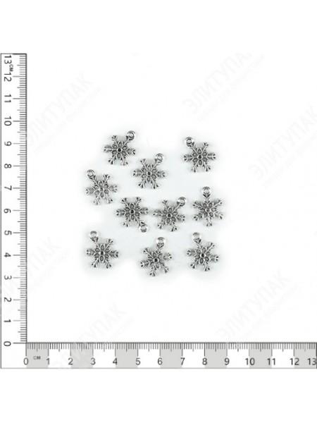 Декор Снежинка метель плоский металл серебряный набор 10 шт