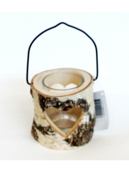 Подсвечник из дерева и стекла с сердцем 8 х 8 х 8 см