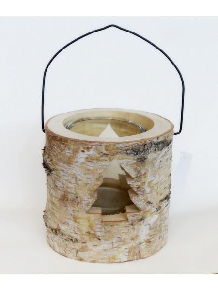 Подсвечник из дерева и стекла с елочкой  15 х 15 х 15 см