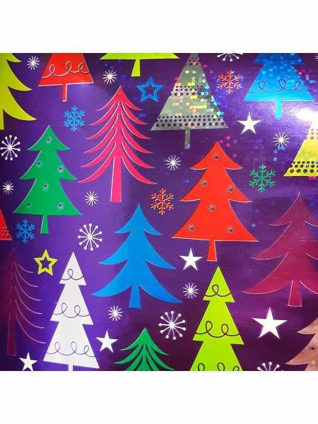 Бумага глянцевая Новогодние елочки 100 х 70 см