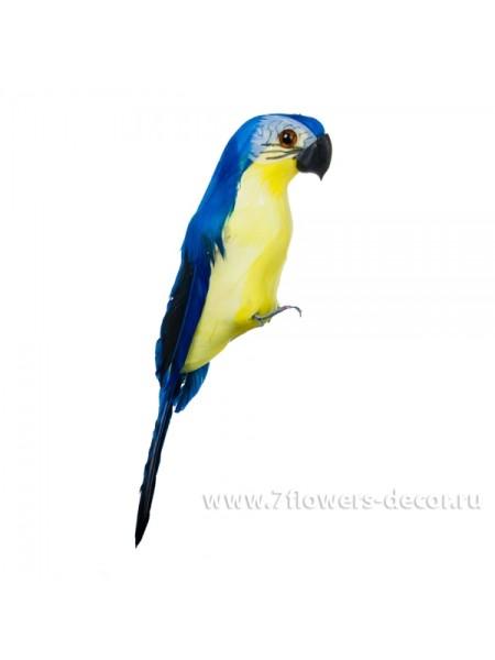Попугай декоративный пена, перо 20 см цвет синий