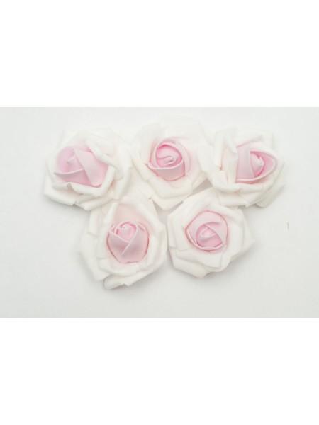 Роза 7 см фоамиран (20-25 шт в упаковке) нежно-розовая