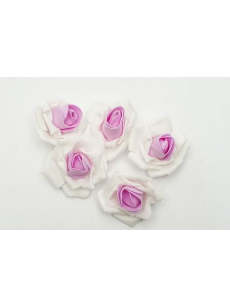 Роза 7 см фоамиран (20-25 шт) в упаковке бело-розовая