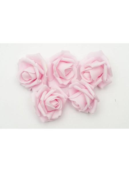 Роза 7 см фоамиран (20-25 шт в упаковке) светло-розовая
