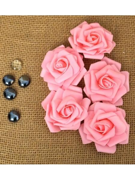 Роза 7 см фоамиран (20-25 шт в упаковке) розовая