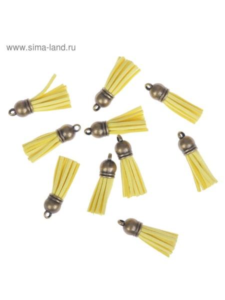 Декор для творчества Бахрома желтая набор10 шт 4 х1,7 искусственная замша+латунь