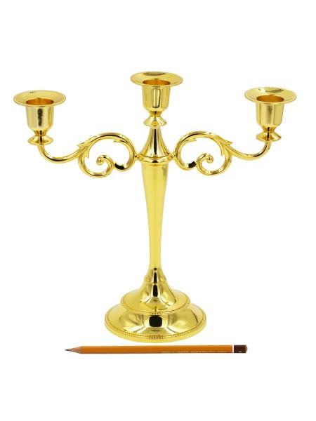 Канделябр металл на 3 свечи h 26.5 см цвет золотой HS-33-2