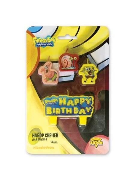 Свечи для торта Губка Боб 4шт