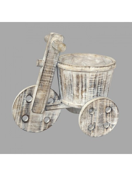 Велосипед деревянный 3х колесный с кашпо