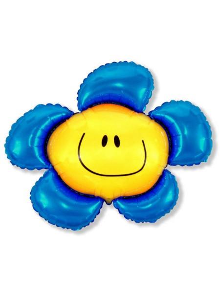 """Фольга шар Цветочек солнечная улыбка синий 41""""/102,5 см 1 шт Испания"""