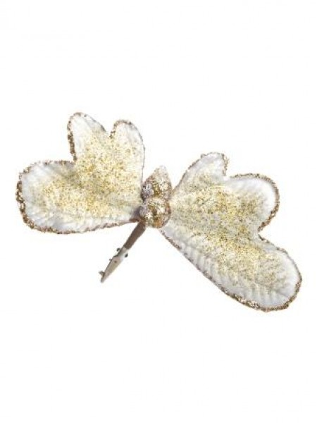 Бабочка 14 х 16 х 8 см светлый бархат/полиэстр   новый год
