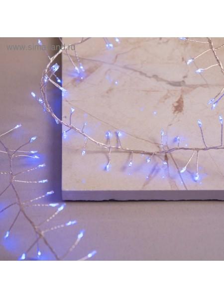 Электрогирлянда Нить мишура роса Д-2 м силикон LED-200-4,5V IP65 8 режимов синий внешние применение