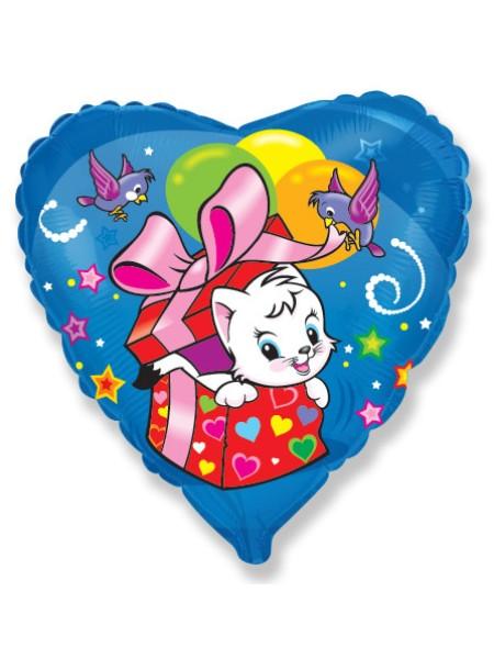 Фольга шар Сердце Кошкин сюрприз 18