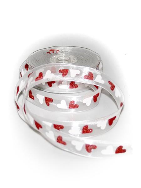 Лента тканная 262/00-20 матерчатая romeo сердца бело-красные