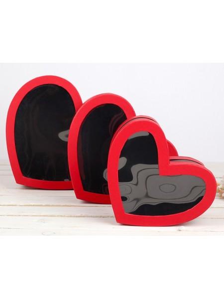 Набор коробок сердце с окном 3 в 1 29 х 27 х 12/25 х 23 х 11/21 х 19 х 10 см