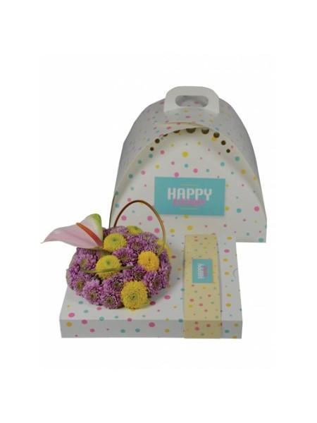Коробка подарочная в комплекте с контейнером  С Днем рождения
