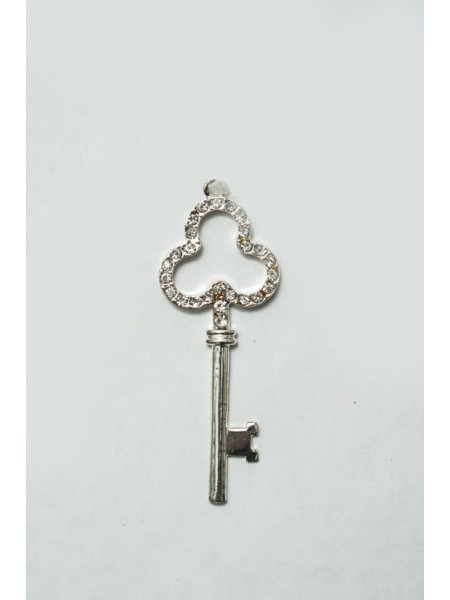Ключ с кристаллами 11см метал цв.Серебро