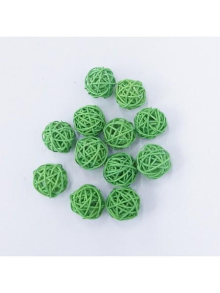 Набор шаров ротанг 3 см 12 шт цвет зеленые