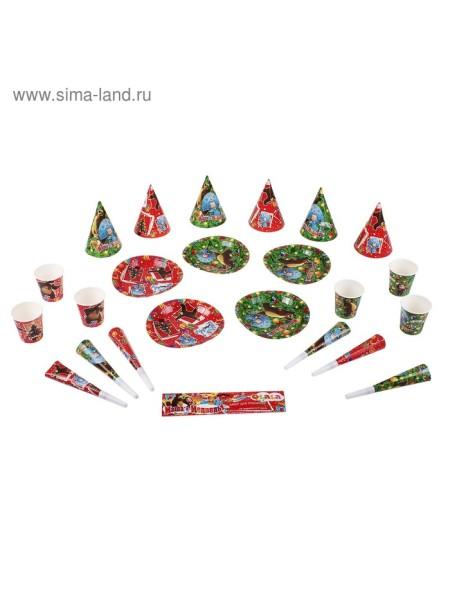 Набор для праздника Новый Год на 6 персон, 24 предмета