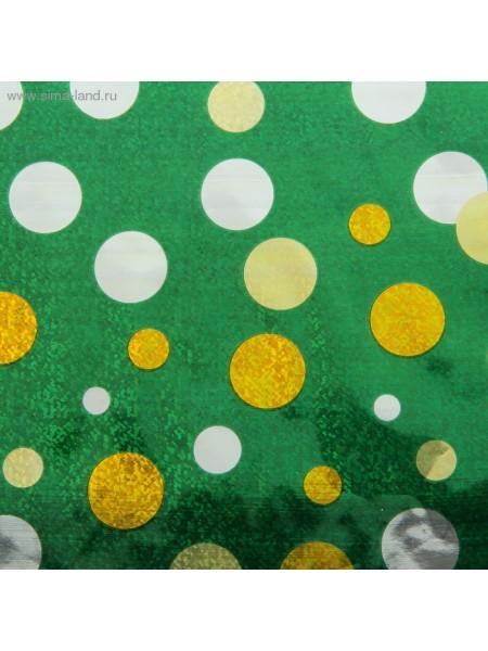 Бумага голография Золотые круги на зеленом 70 х 100 см