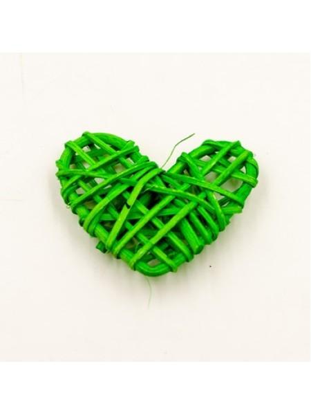 Сердце ротанг 6,5*5,5 цвет зеленый 1/5 шт