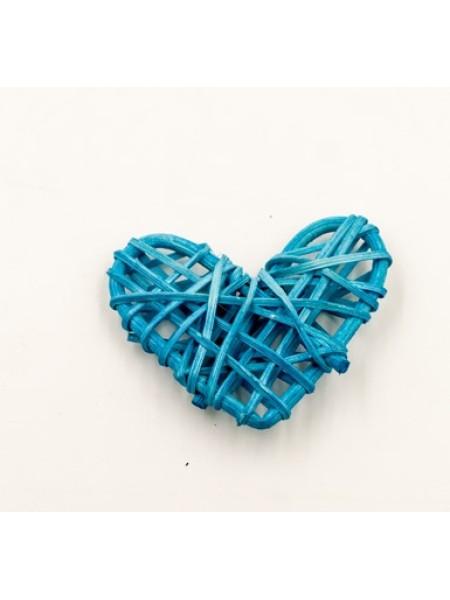 Сердце ротанг 6,5*5,5 цвет синий 1/5 шт