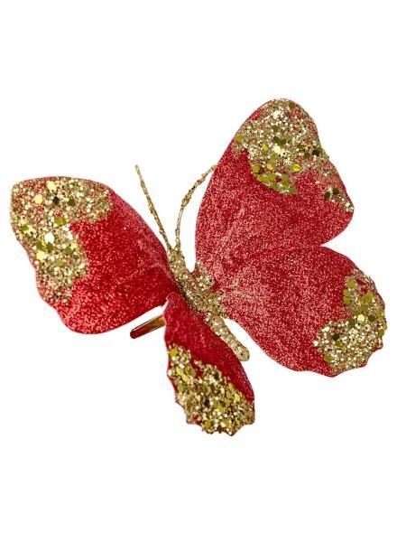 Бабочка на прищепке 18 см цвет красный 19471