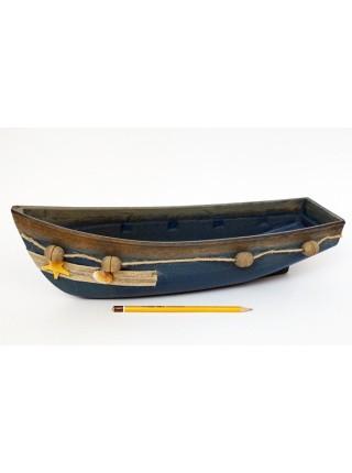 Лодка декоративная набор 2 шт 43 х 14 х h14,  36 х 12 х h10 цвет синий  HS 44-1