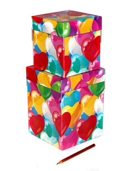Коробка картон 19/453 Воздушные сердца под кружку набор из 2  11х11х 2 - 13х13х17 см
