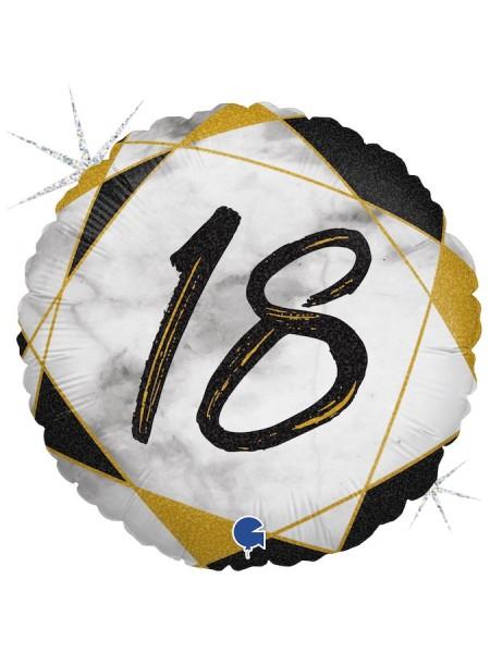 "Фольга шар круг 18 цифра Мрамор Калакатта черный голография 18""/46 см"