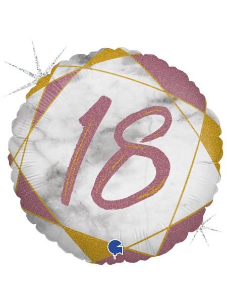 "Фольга шар круг 18 цифра Мрамор Калакатта розовое золото голография 18""/46 см"