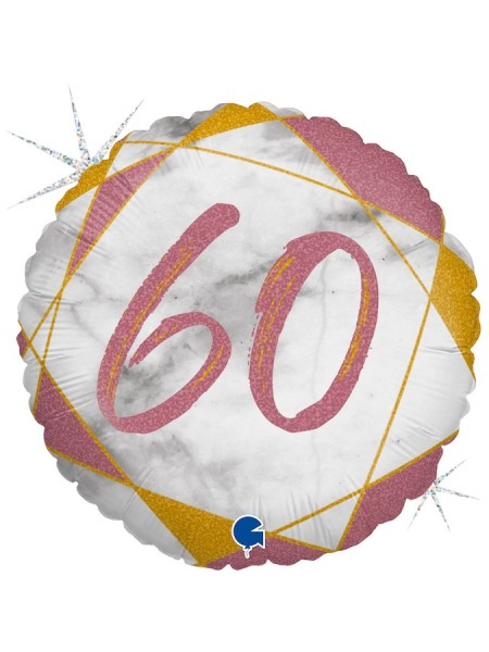 "Фольга шар круг 60 цифра Мрамор Калакатта розовое золото голография 18""/46 см"
