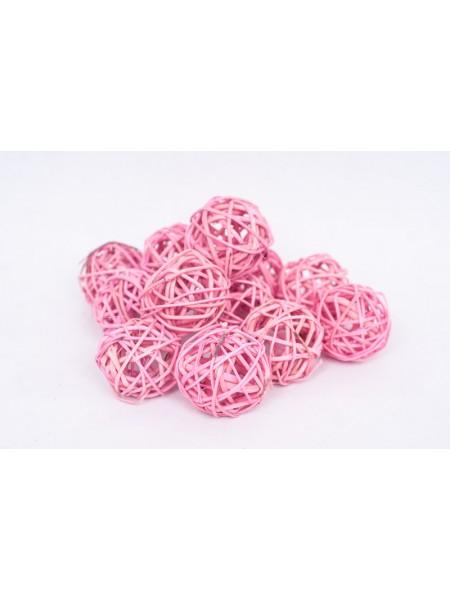 Шар плетеный ротанг D5 см набор 12 шт цвет розовый