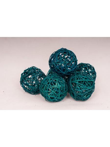 Шар плетеный ротанг D10 см набор 6 шт цвет Бирюза