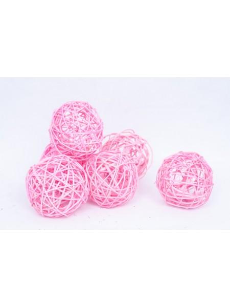 Шар плетеный ротанг D10 см набор 6 шт цвет Розовый