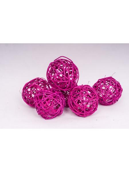 Шар плетеный ротанг D10 см набор 6 шт цвет Ярко-розовый
